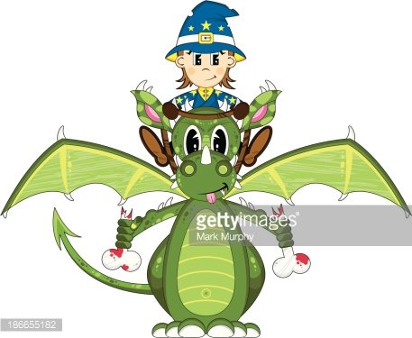 Mystical Dragon and Cute Wizard Clipart Image.