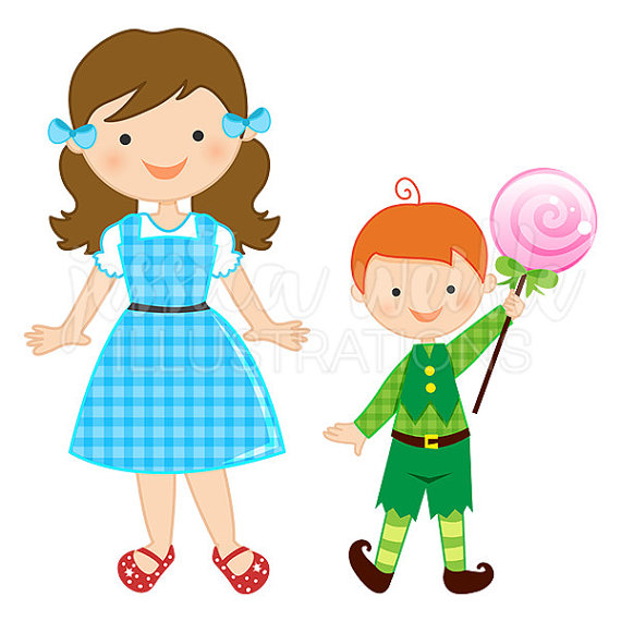 Just dorothy and the munchkins cute digital clipart wizard.