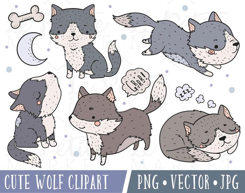 Cute Husky Clipart Images, Cute Wolf Clipart, Husky Clip Art, Malamute  Clipart, Kawaii Dog Clipart, Kawaii Husky Clipart, Wolf Clip Art.