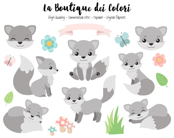 Gray Fox Clipart, Cute Digital Graphics PNG, Wolf, Foxes, Autumn.