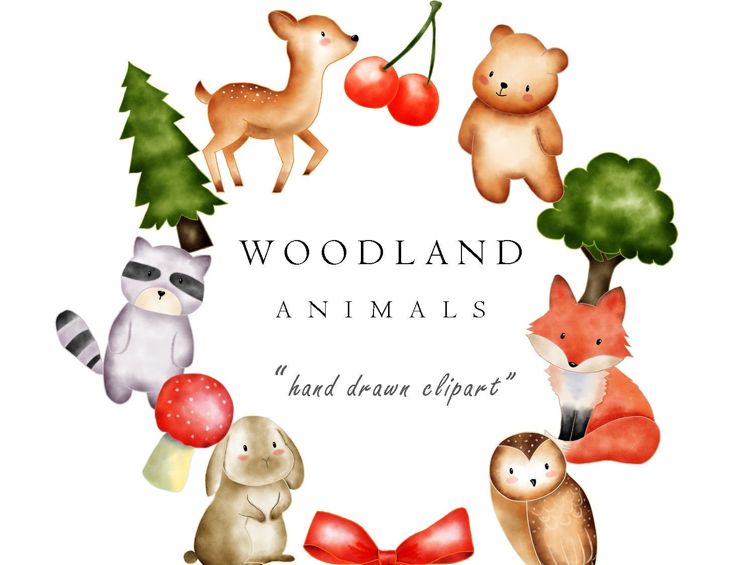 Watercolor Woodland Animal Clip Art Images by turnip on Dribbble.
