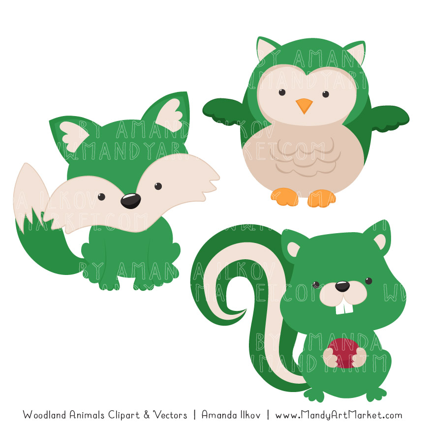 Green Woodland Animals Clipart.