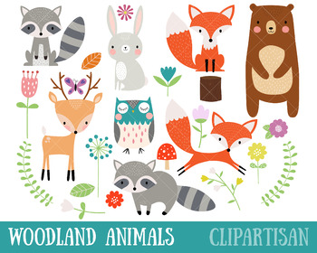 Woodland Animal Clipart, Cute Forest Animals.