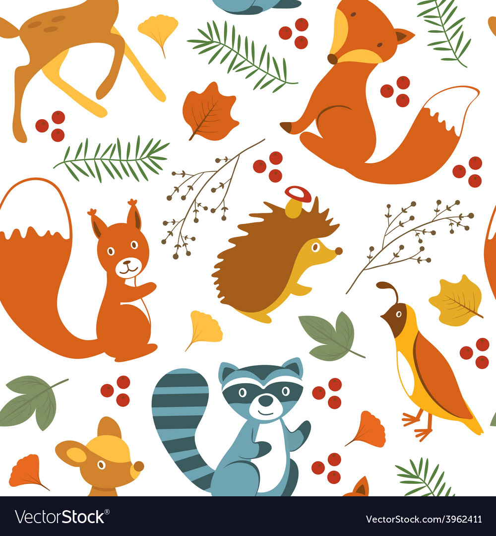 Cute woodland animals pattern.