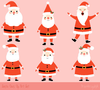 Cute Santa clip art set, Santa Claus clipart, Kawaii Christmas clipart.