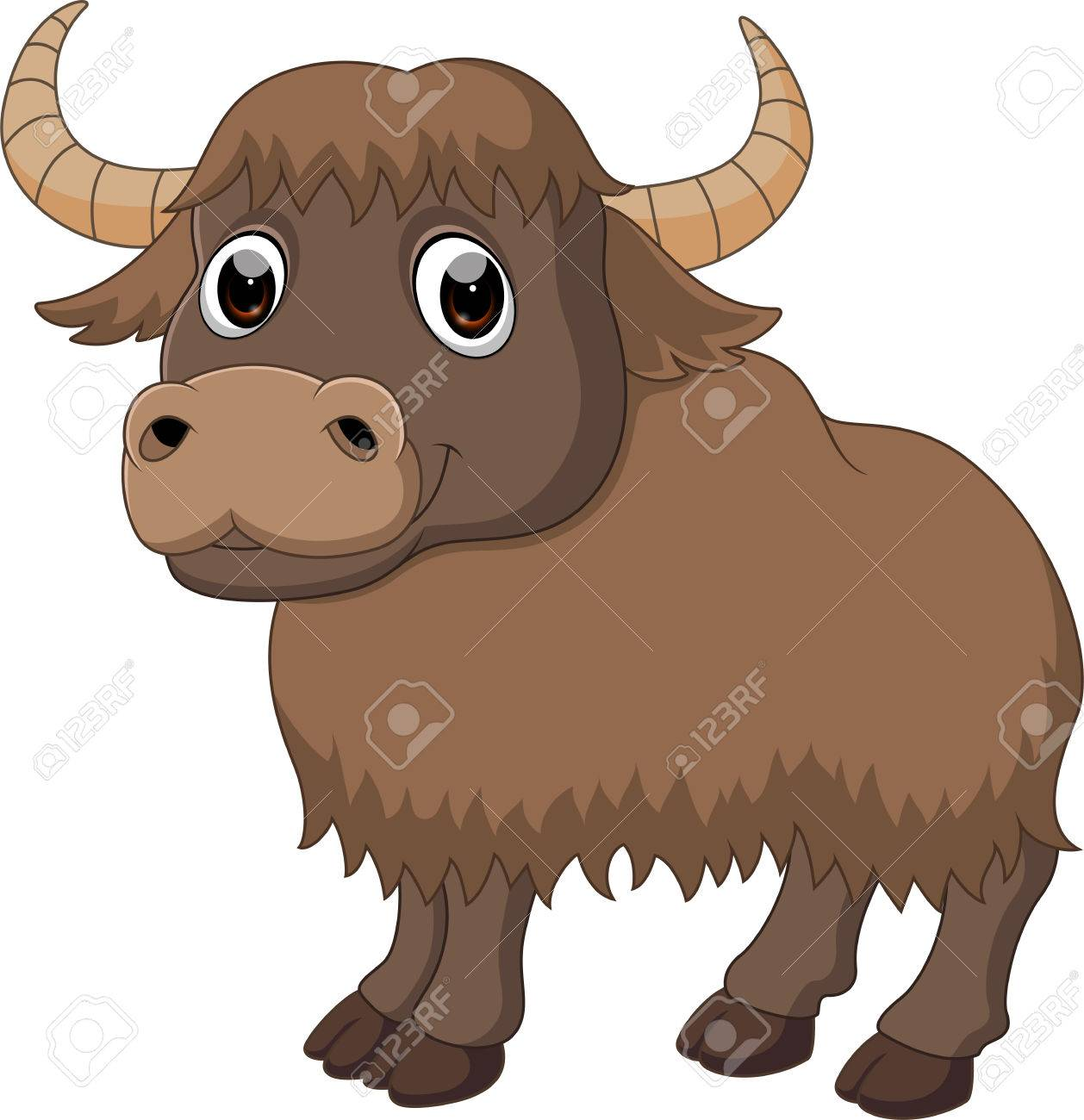 Cute yak cartoon.