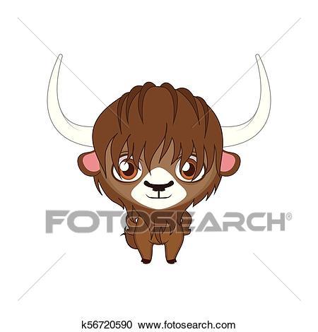 Cute stylized cartoon yak illustration ( for fun educational purposes,  illustrations etc. ) Clipart.