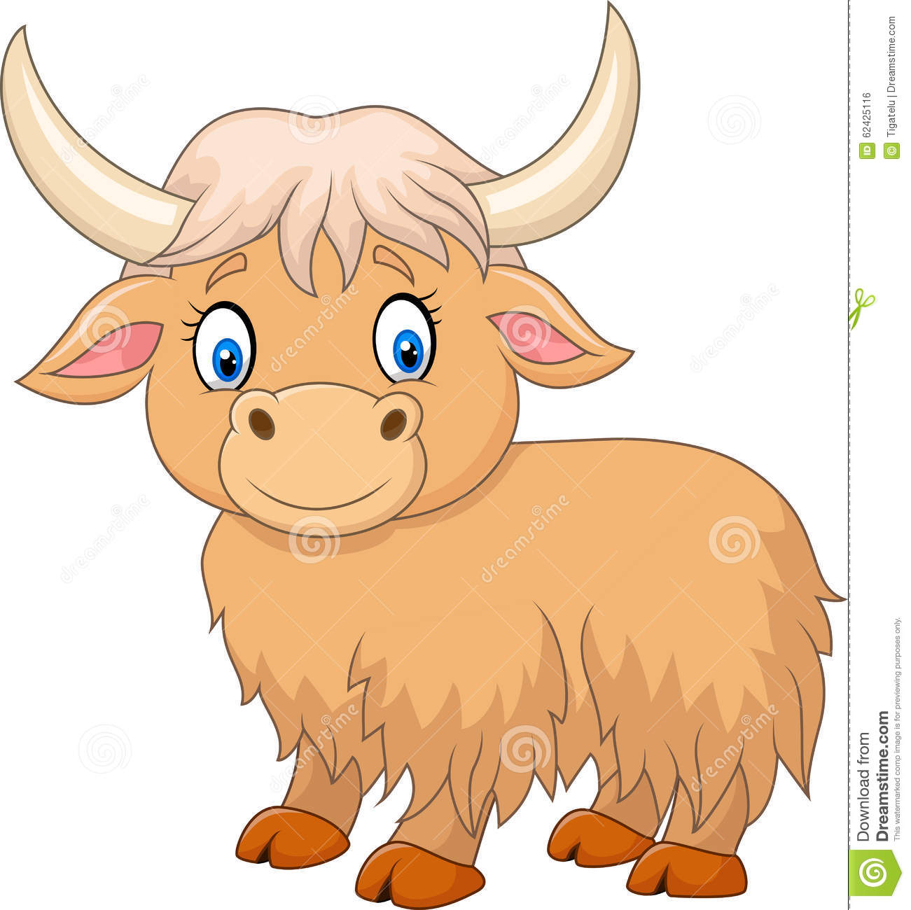Cartoon Funny Yak Isolated On White Background Stock Vector.