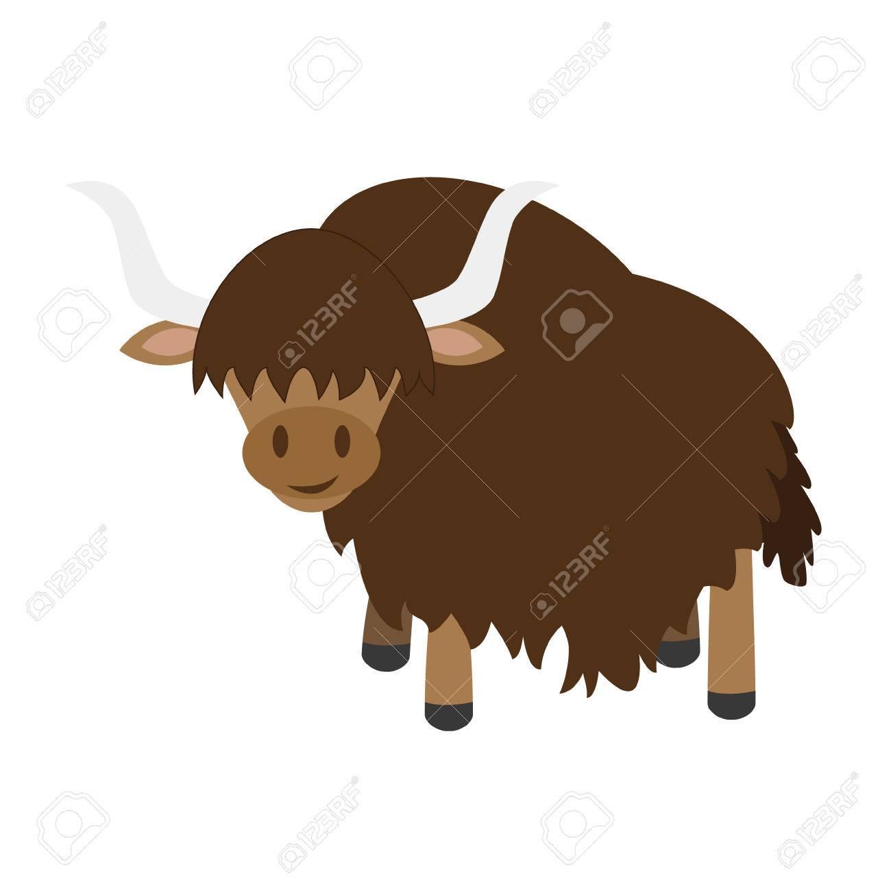 Cute cartoon yak vector illustration.