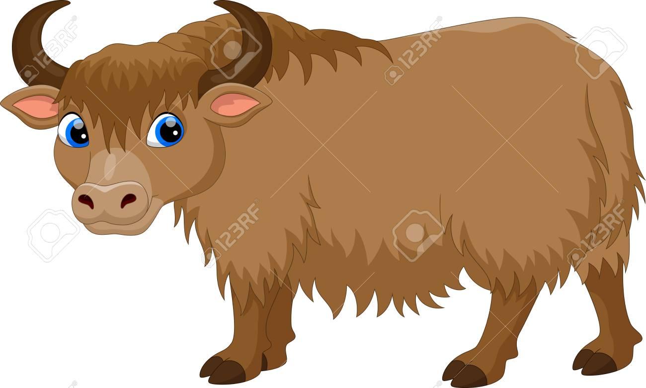 Illustration of cute yak cartoon isolated on white background.