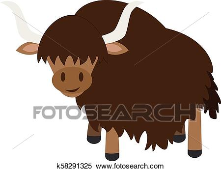 Cute cartoon yak vector illustration Clipart.