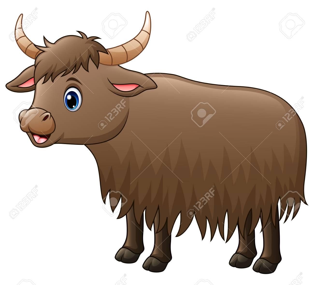 Vector illustration of cute yak cartoon..