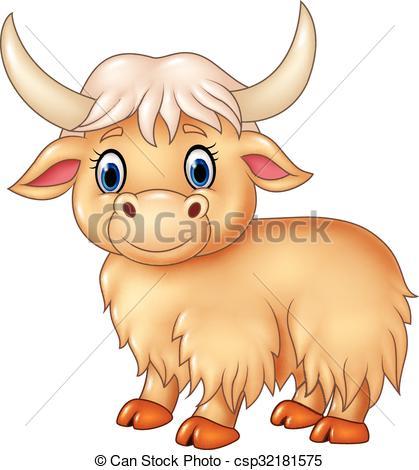 Cartoon cute yak isolated.