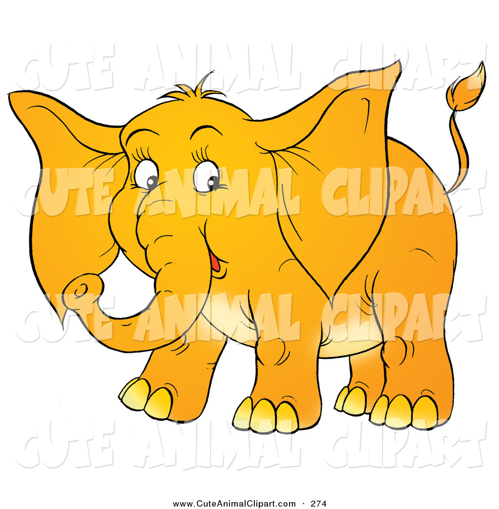 Clip Art of a Cute Yellow Baby Elephant with Big Ears, on a White.