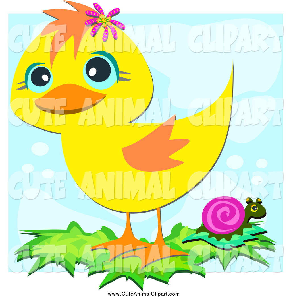 Vector Cartoon Clip Art of a Cute Yellow Duck and Snail by bpearth.
