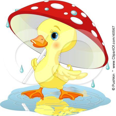 Cute Yellow Duckling Strolling Under A Mushroom Umbrella On A.