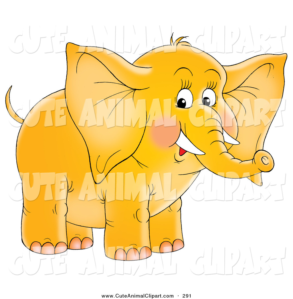 Clip Art of a Cute Yellow Baby Elephant with Blushed Cheeks and.