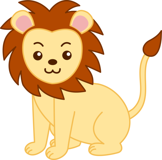 Free clip art of a cute yellow lion.