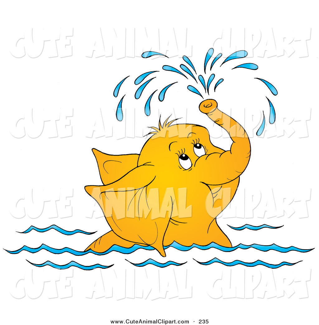 Clip Art of a Cute Yellow Elephant Swimming and Showering Itself.