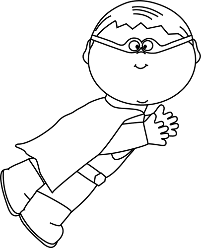 Cute Kid Hero Clipart Black And White.
