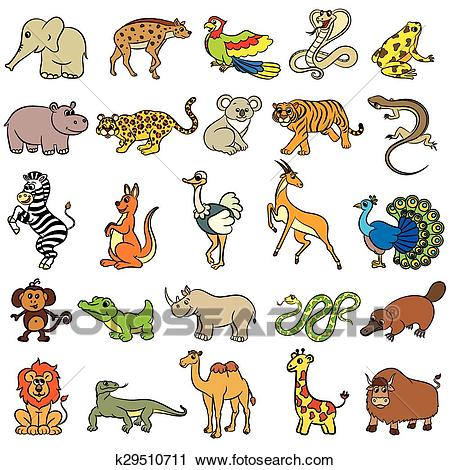 Cute zoo animals collection Clipart.