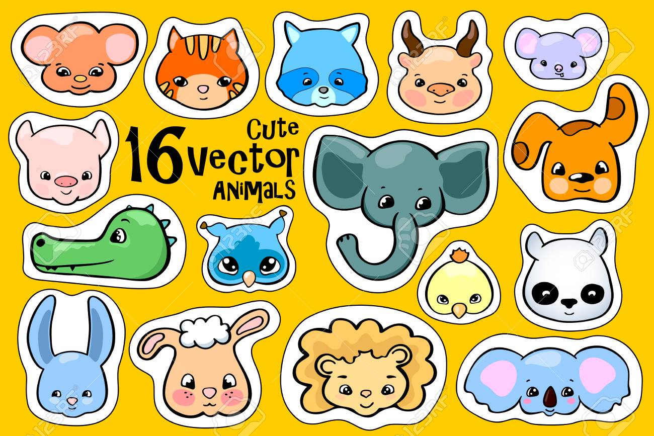 Colorful animal face stickers. Cute animal vector clipart. Little...