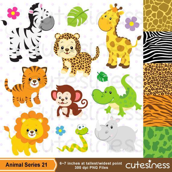 Jungle Clip Art, Jungle Digital Papers,Jungle Clipart,Jungle Animals.