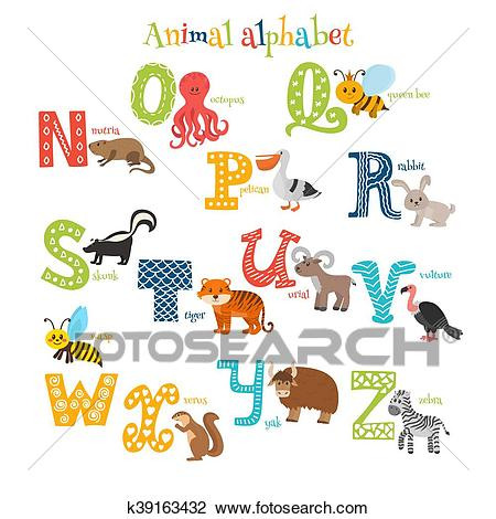 Zoo. Cute cartoon animals alphabet from N to Z in cartoon style Clipart.