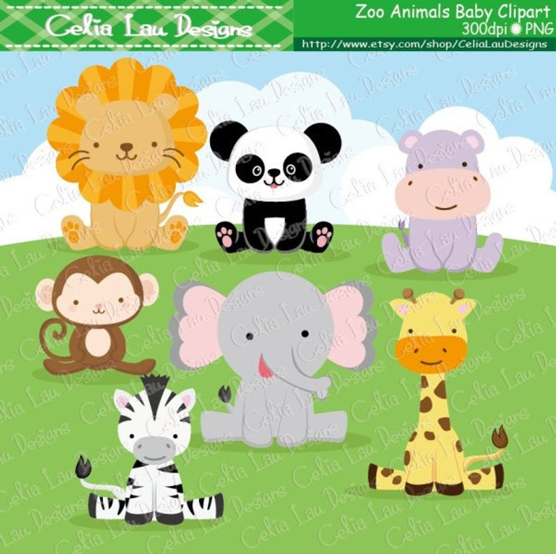 Zoo Animals Digital Clip art , Baby Animals Clipart, Cute Animals clipart  and digital paper background set ( A026).