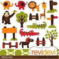 Zoo clip art, cute animals (elephant, giraffe, lion, crocodile) clipart.