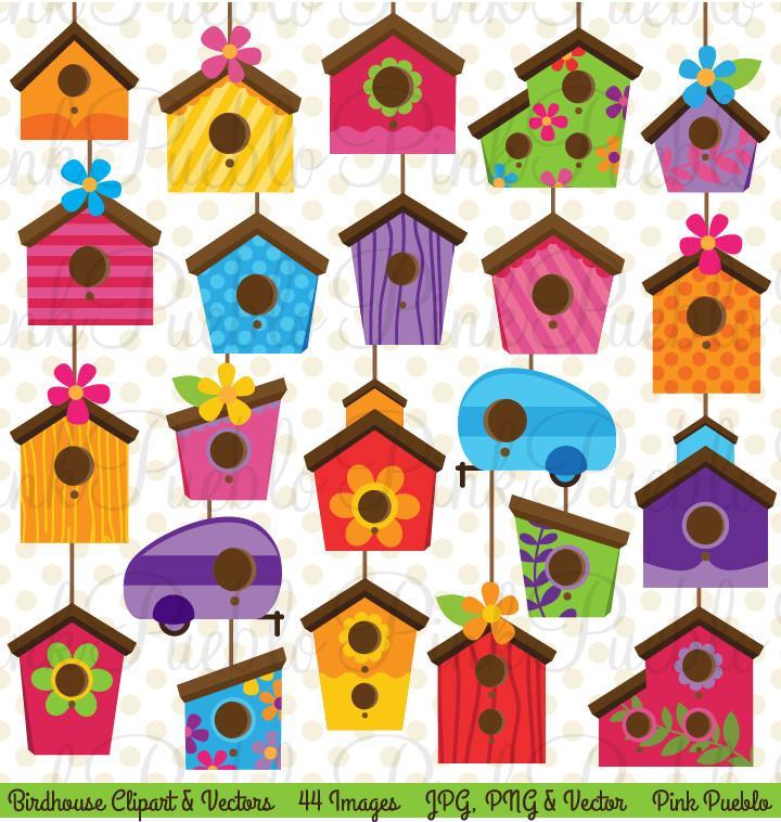 Cute Birdhouse Clipart and Vectors.