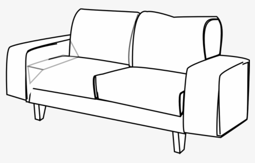 Free Couch Black And White Clip Art with No Background.