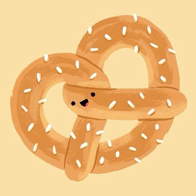 Soft pretzel ~ cute illustration.