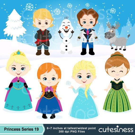 Instant Download Snow Princess ClipArt, Frozen Clipart, Snow.