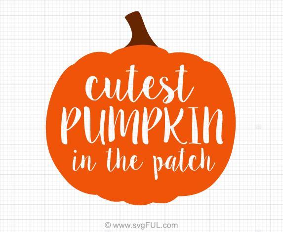 Cutest Pumpkin In The Patch Halloweenn Svg Clip Art.