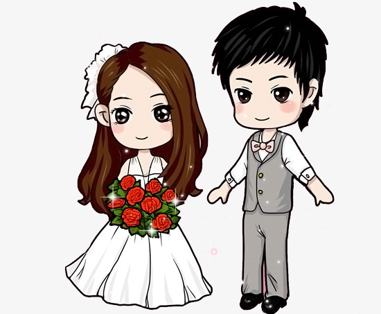 Download Free png Q Version Cute Couple Wedding, Cute.