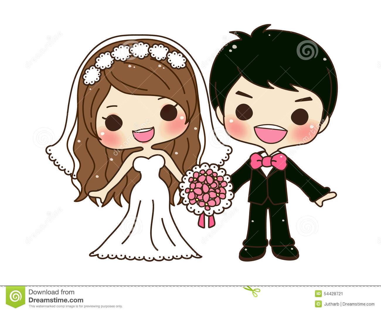 Cute Wedding Couple Clipart.