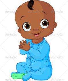 Cutie Pie Little Black Boy Clipart Images.
