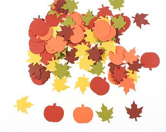 Die cut paper leaves.
