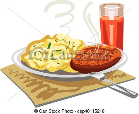 Vector Clip Art of mushed potatoes with cutlet.