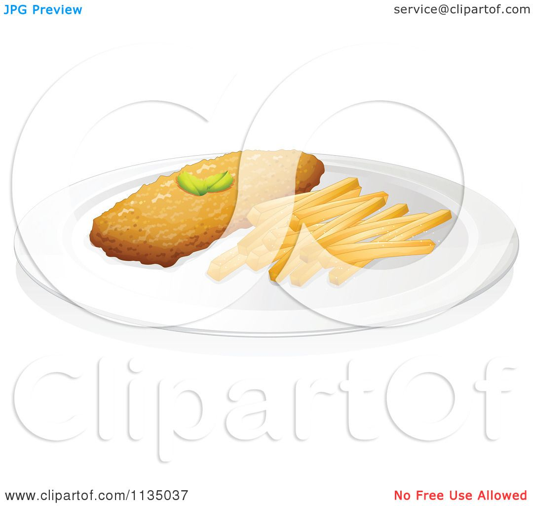 Cartoon Of A Chicken Cutlet And French Fries 1.