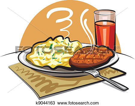 Clipart of mashed potatoes with a cutlet k9044163.