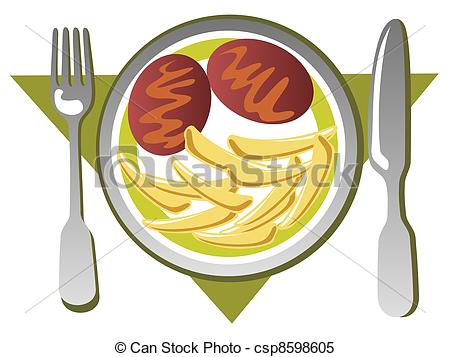 Stock Illustrations of cutlet with potato.