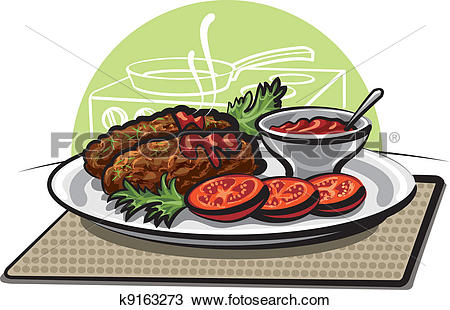 Clipart of cutlets and sauce k9163273.