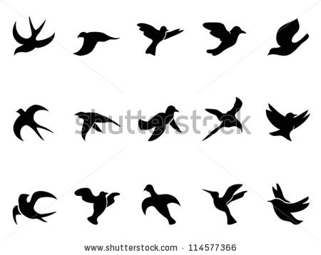 simple bird's flying Silhouettes by HuHu, via ShutterStock.
