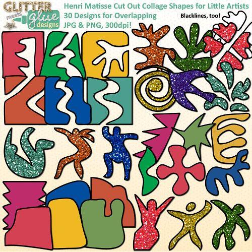 Henri Matisse Shapes Clip Art {Collage Cutout Shapes for Art.