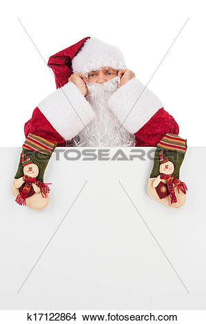 Stock Photo of Thoughtful Santa Claus with two Christmas socks.