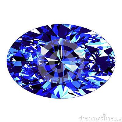 Sapphire Oval Cut Over White Background Stock Illustrations.