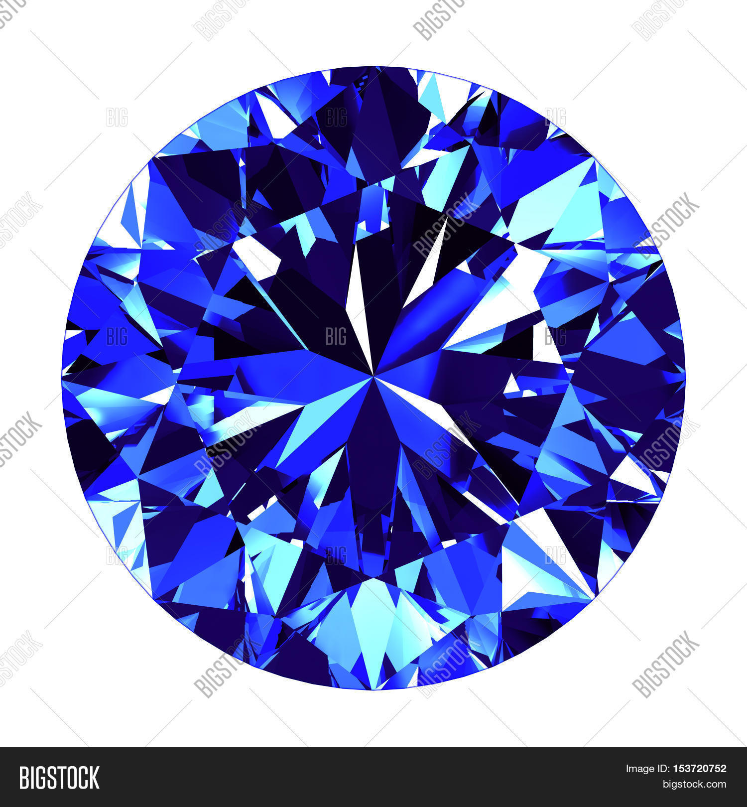 Sapphire Round Cut Over White Background. 3D Illustration. Stock.