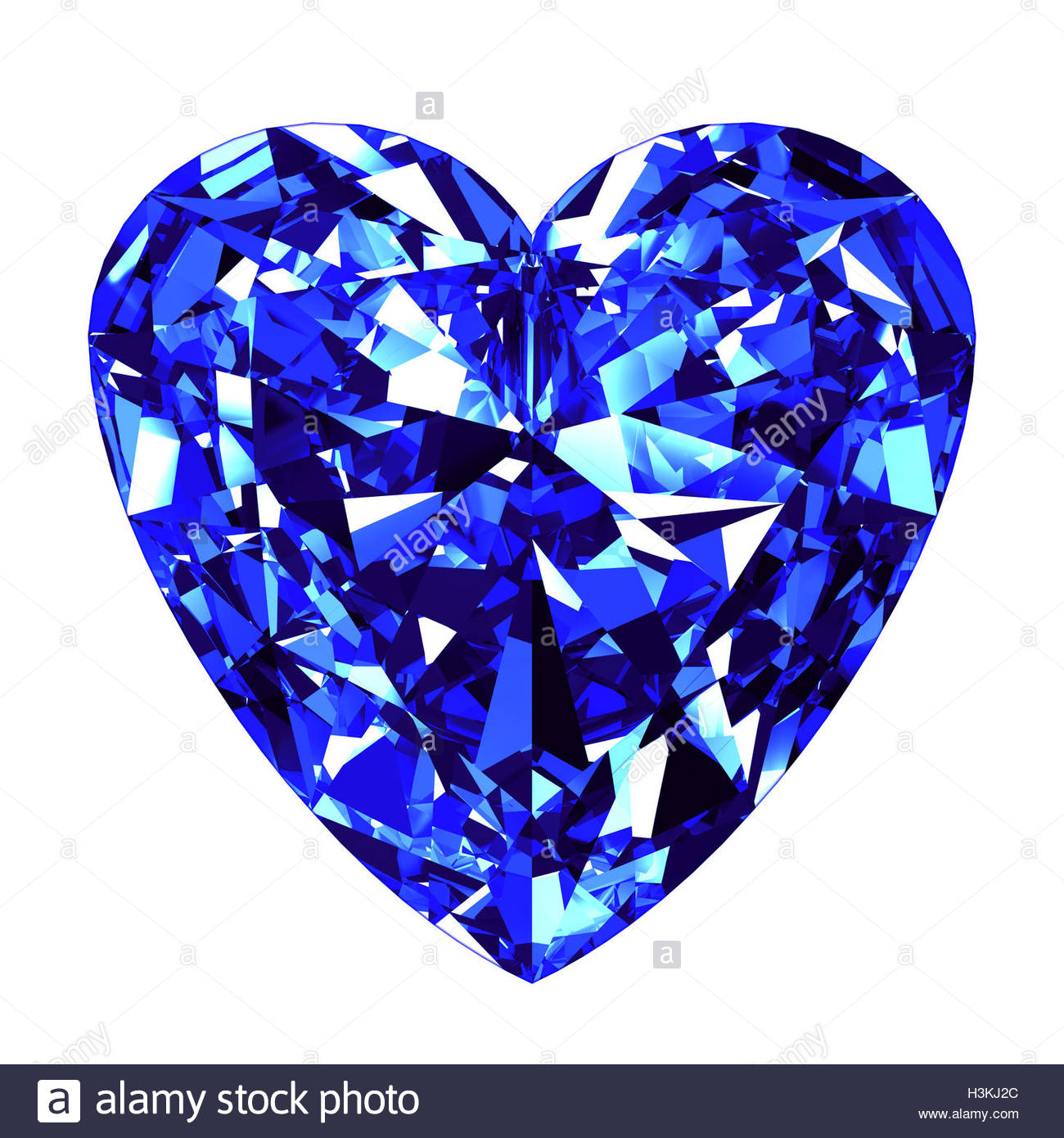 Sapphire Heart Cut Over White Background. 3d Illustration Stock.